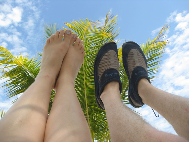 Feet on Caye Caulker