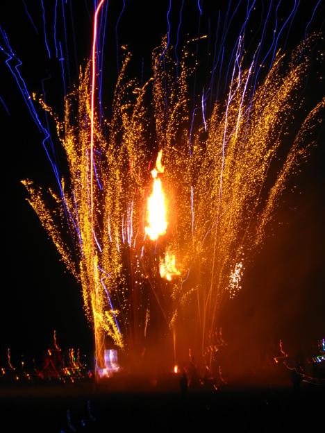 Fireworks around the man
