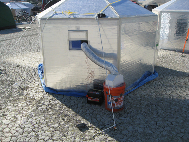 Hexayurt with swamp cooler