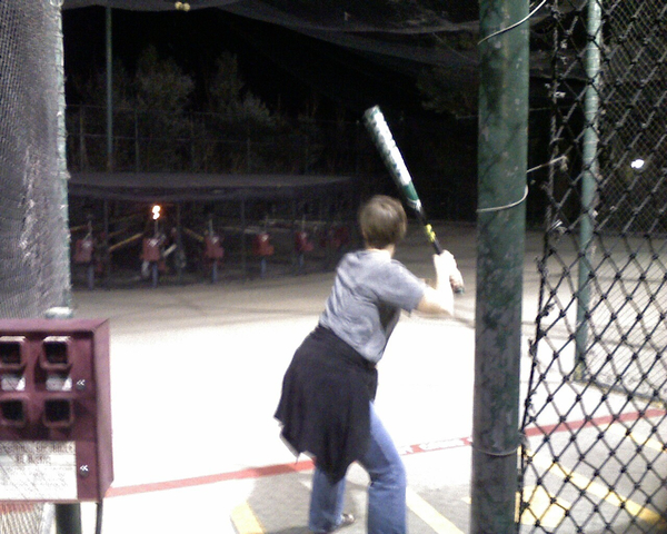 Michale at the batting cages