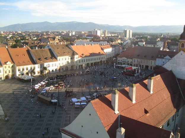 View of a square in Sibiu from the clock tower