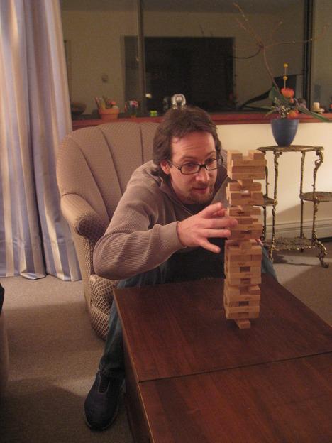 Chris concentrating on a tough Jenga move